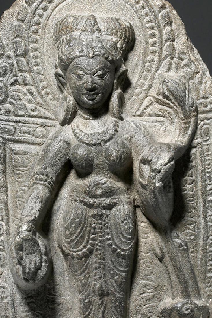 8th C. Indian Blackstone Pala Panel - Tara Bodhisattva - 2