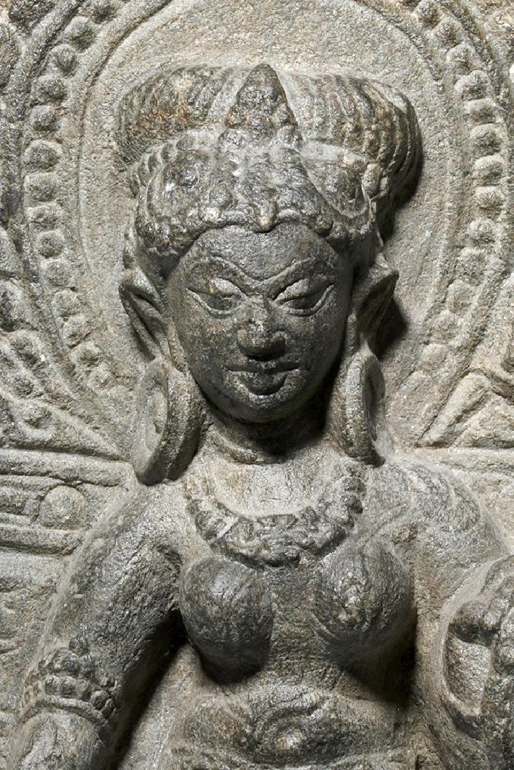 8th C. Indian Blackstone Pala Panel - Tara Bodhisattva - 3
