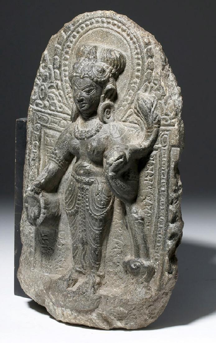 8th C. Indian Blackstone Pala Panel - Tara Bodhisattva - 4