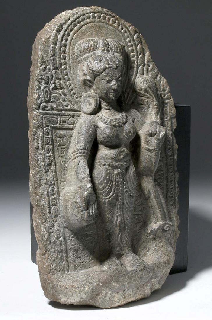8th C. Indian Blackstone Pala Panel - Tara Bodhisattva - 5