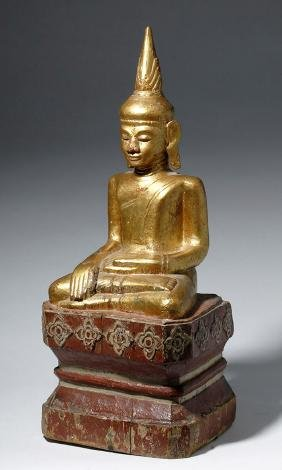 Large 18th C. Burmese Gilded Wood Seated Buddha