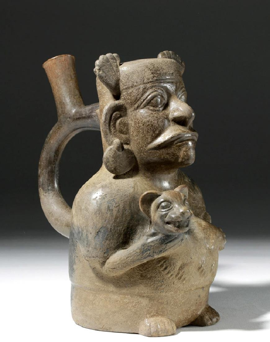 Moche III Blackware Stirrup Jar -  Man & Jaguar - 4