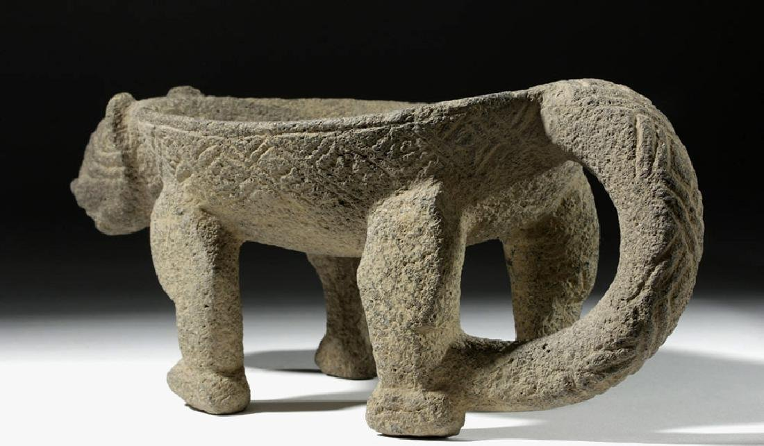 Costa Rican Stone Metate / Bowl in Jaguar Form - 3