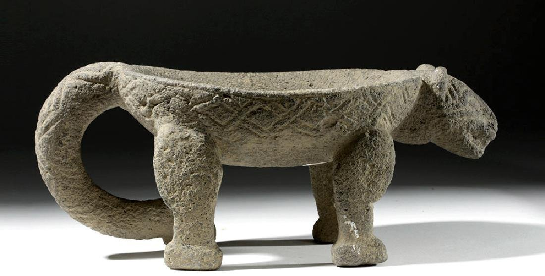Costa Rican Stone Metate / Bowl in Jaguar Form - 5
