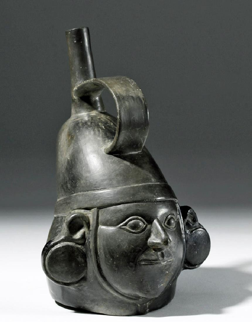 Very Fine Inca Blackware Pottery Stirrup Jar - Warrior