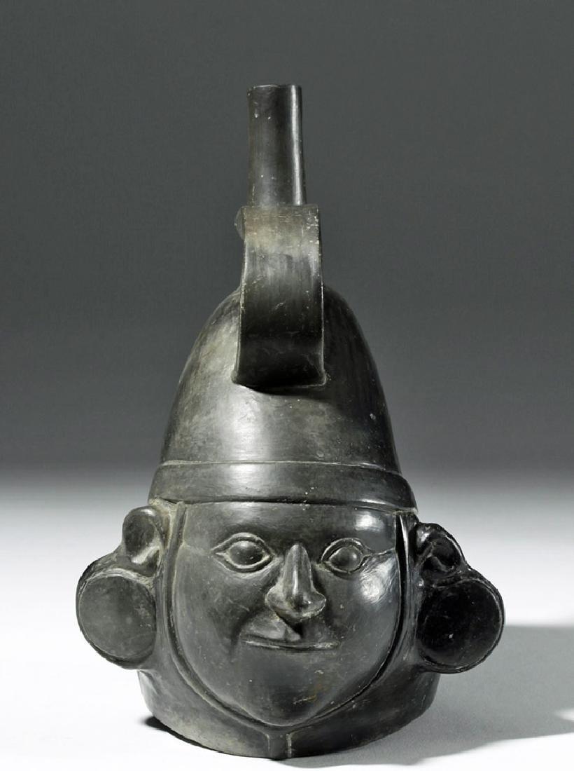 Very Fine Inca Blackware Pottery Stirrup Jar - Warrior - 5