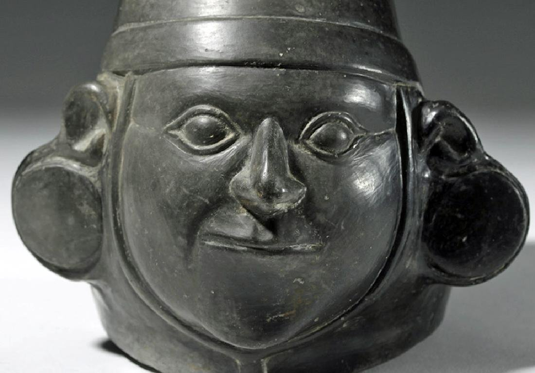 Very Fine Inca Blackware Pottery Stirrup Jar - Warrior - 6