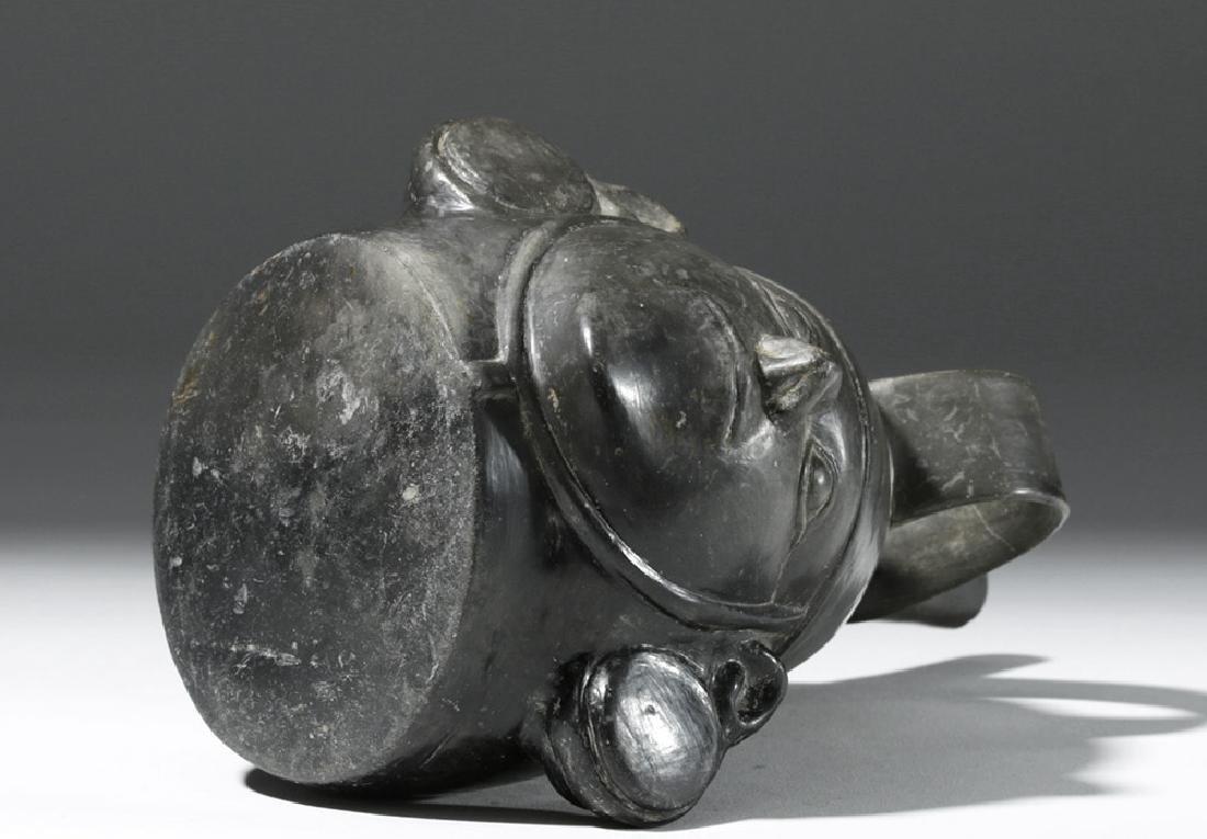Very Fine Inca Blackware Pottery Stirrup Jar - Warrior - 7