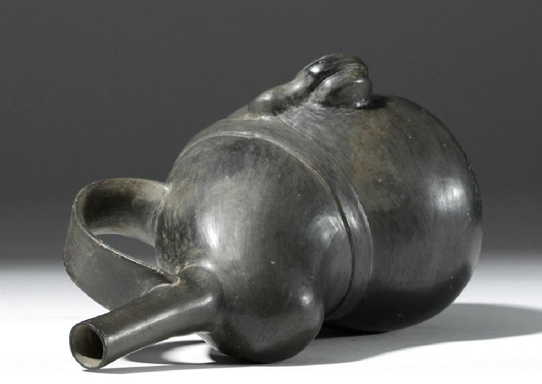 Very Fine Inca Blackware Pottery Stirrup Jar - Warrior - 8