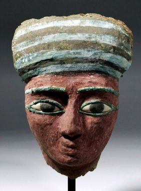 Egyptian Wood Sarcophagus Mask w/ Bronze & Stone Eyes