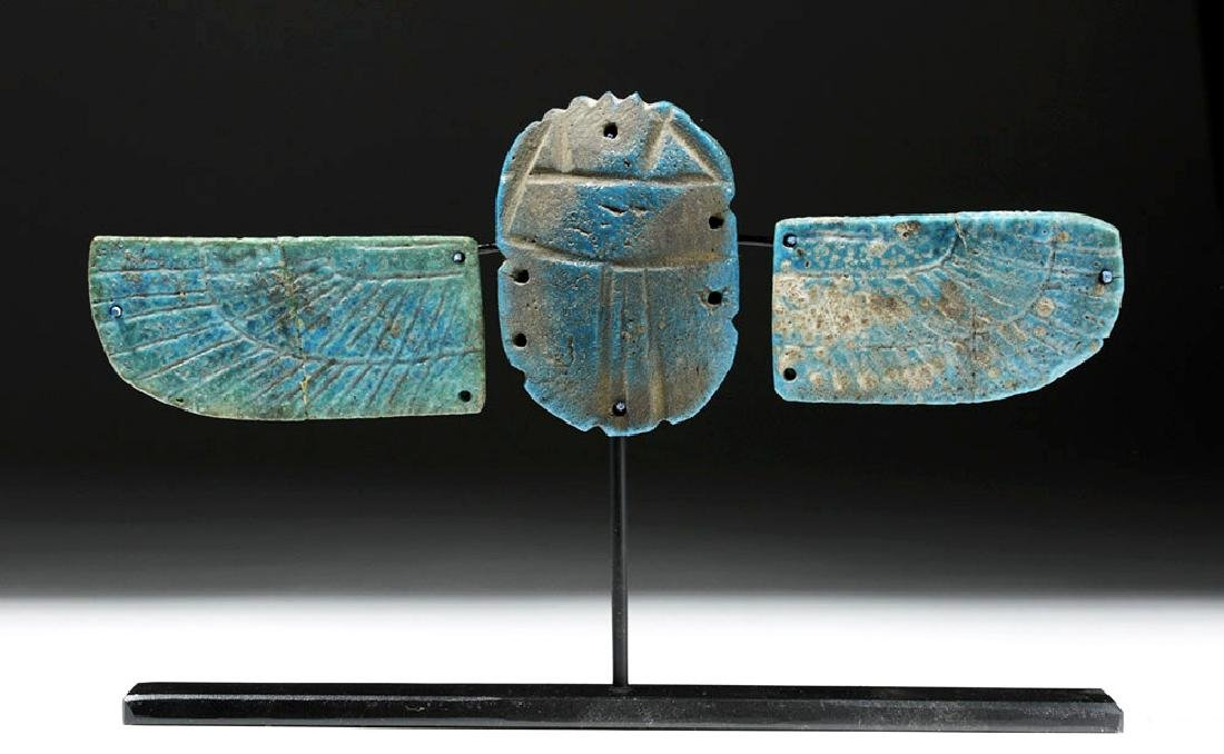 Egyptian Blue Faience Scarab w/ Wings