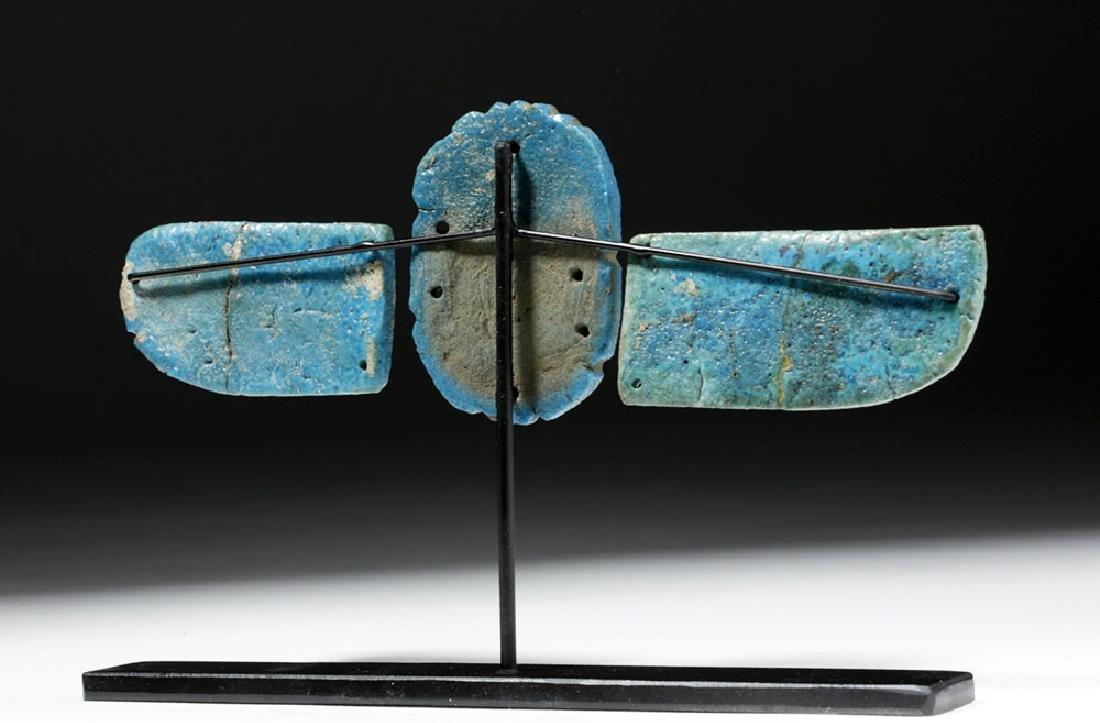 Egyptian Blue Faience Scarab w/ Wings - 3