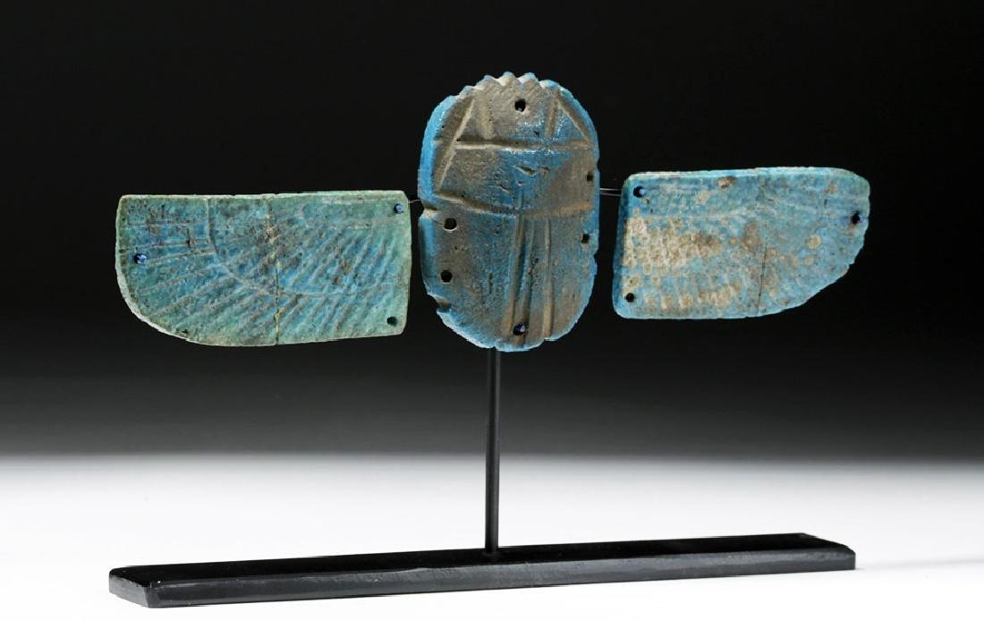 Egyptian Blue Faience Scarab w/ Wings - 4