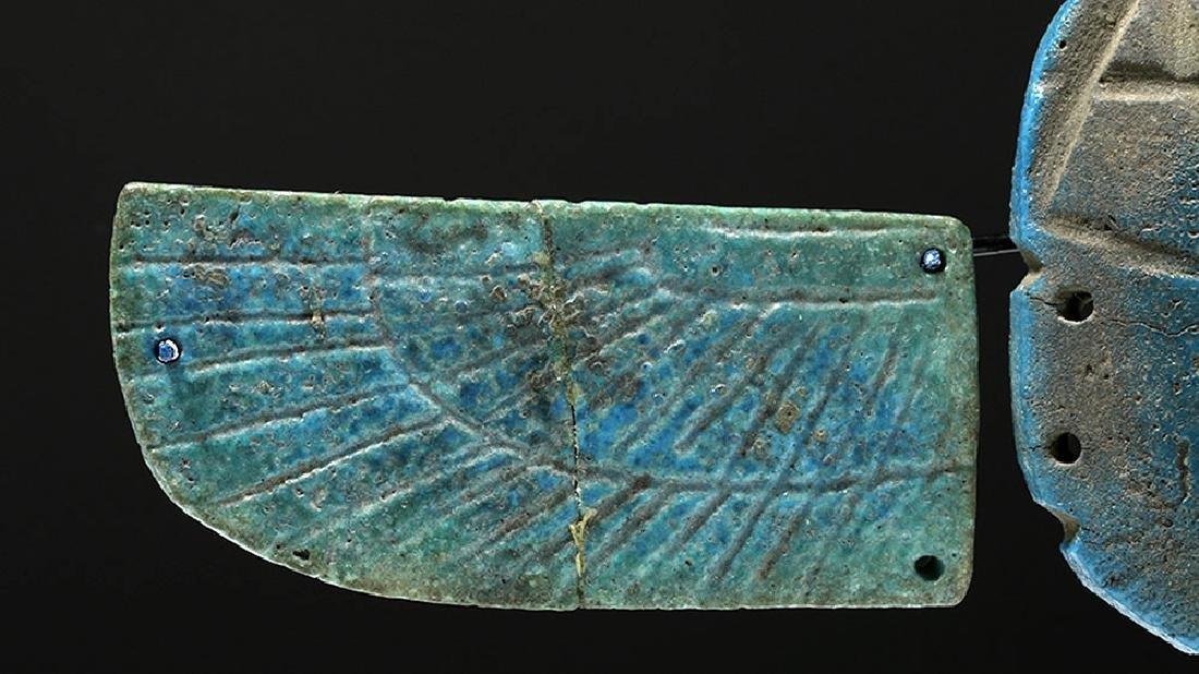 Egyptian Blue Faience Scarab w/ Wings - 5