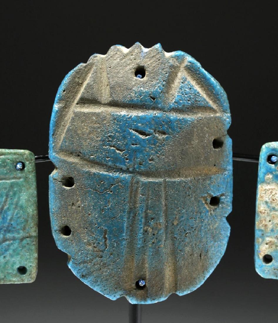Egyptian Blue Faience Scarab w/ Wings - 6