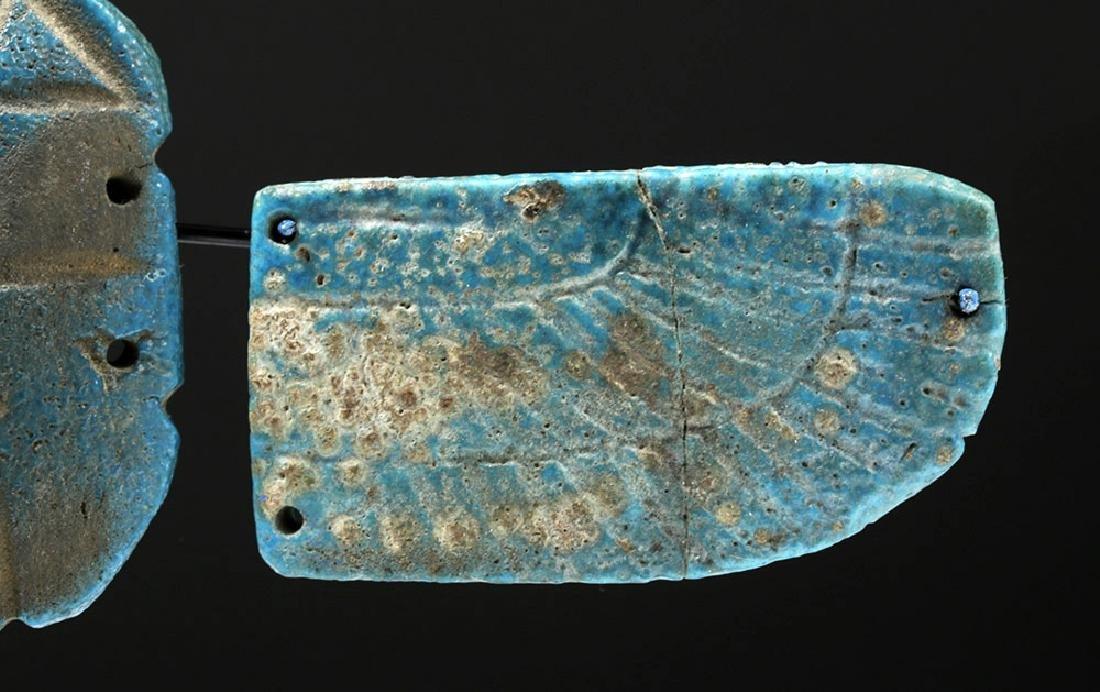 Egyptian Blue Faience Scarab w/ Wings - 7