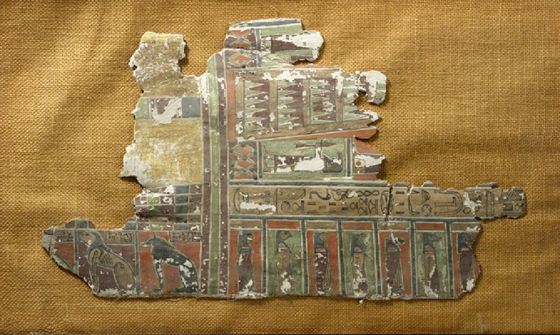 Egyptian Linen and Gesso Sarcophagus Panel - Translated