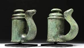 Fine Pair of Roman Bronze Chariot Fittings w Snakes
