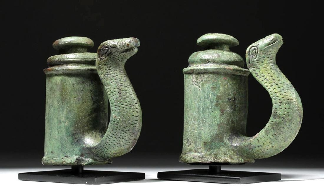 Fine Pair of Roman Bronze Chariot Fittings w/ Snakes
