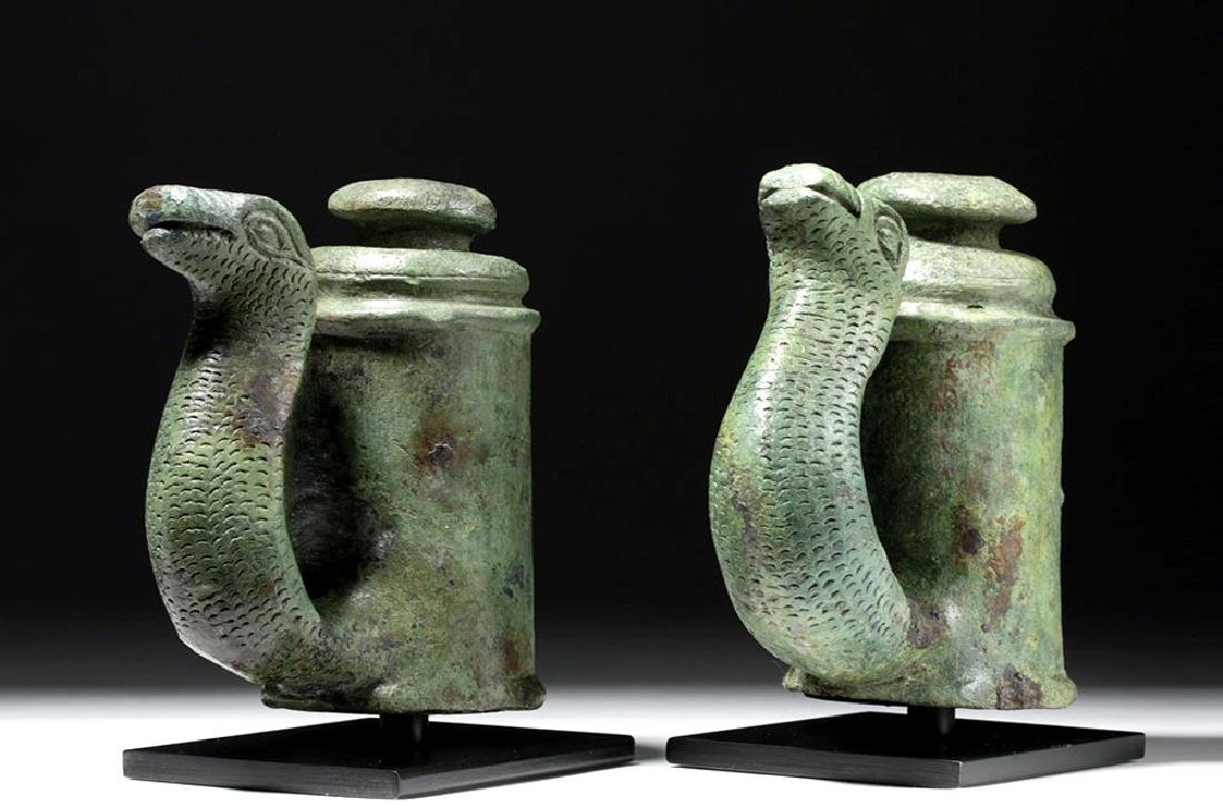 Fine Pair of Roman Bronze Chariot Fittings w/ Snakes - 2