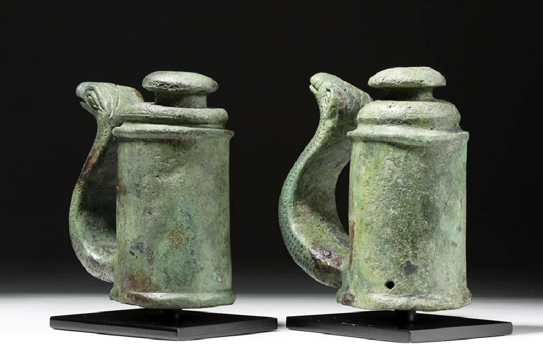 Fine Pair of Roman Bronze Chariot Fittings w/ Snakes - 3