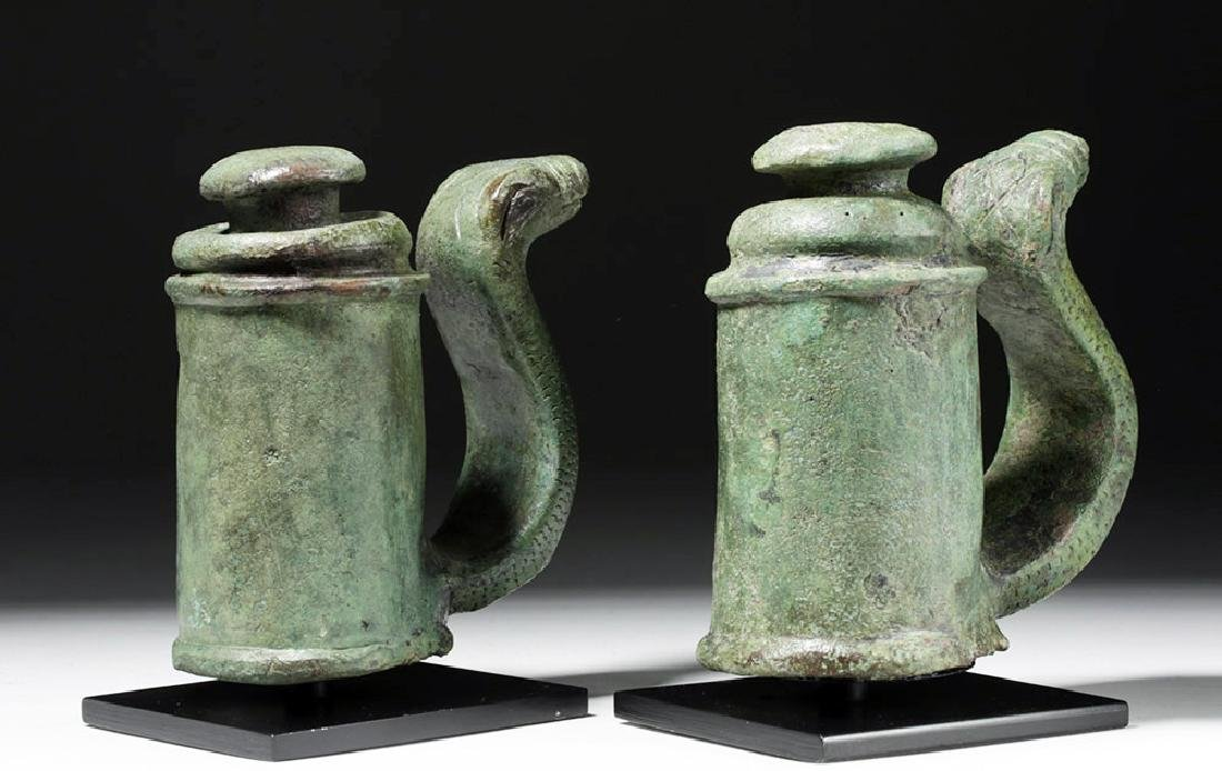 Fine Pair of Roman Bronze Chariot Fittings w/ Snakes - 4