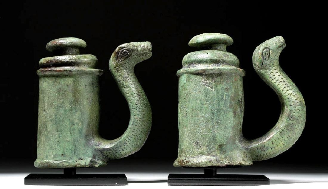 Fine Pair of Roman Bronze Chariot Fittings w/ Snakes - 5