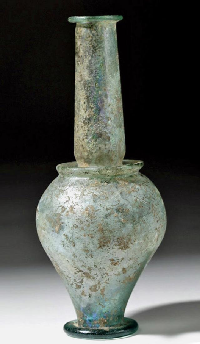 Roman Green Glass Jar - Rare Form w/ Iridescence