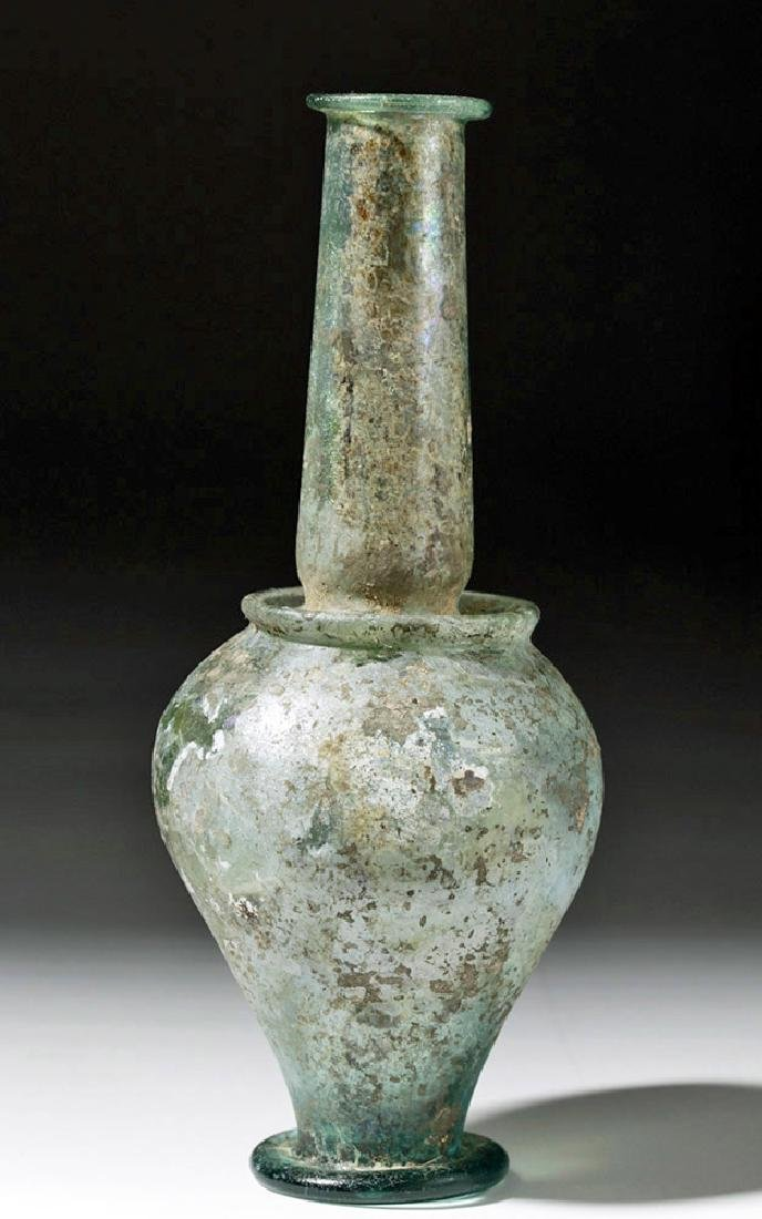 Roman Green Glass Jar - Rare Form w/ Iridescence - 3