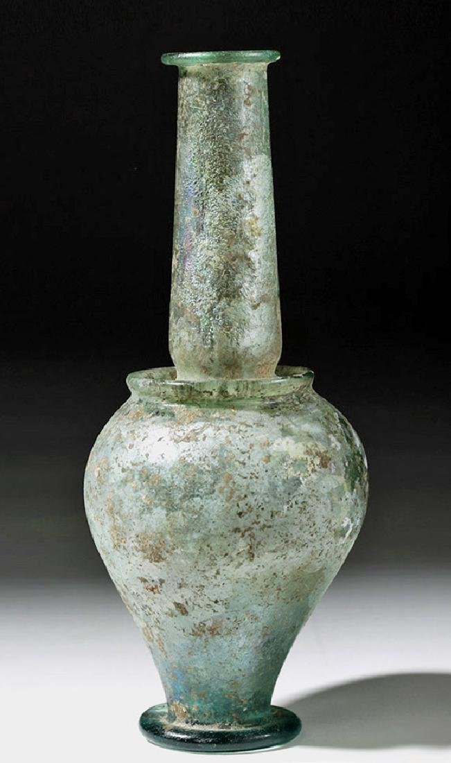 Roman Green Glass Jar - Rare Form w/ Iridescence - 4