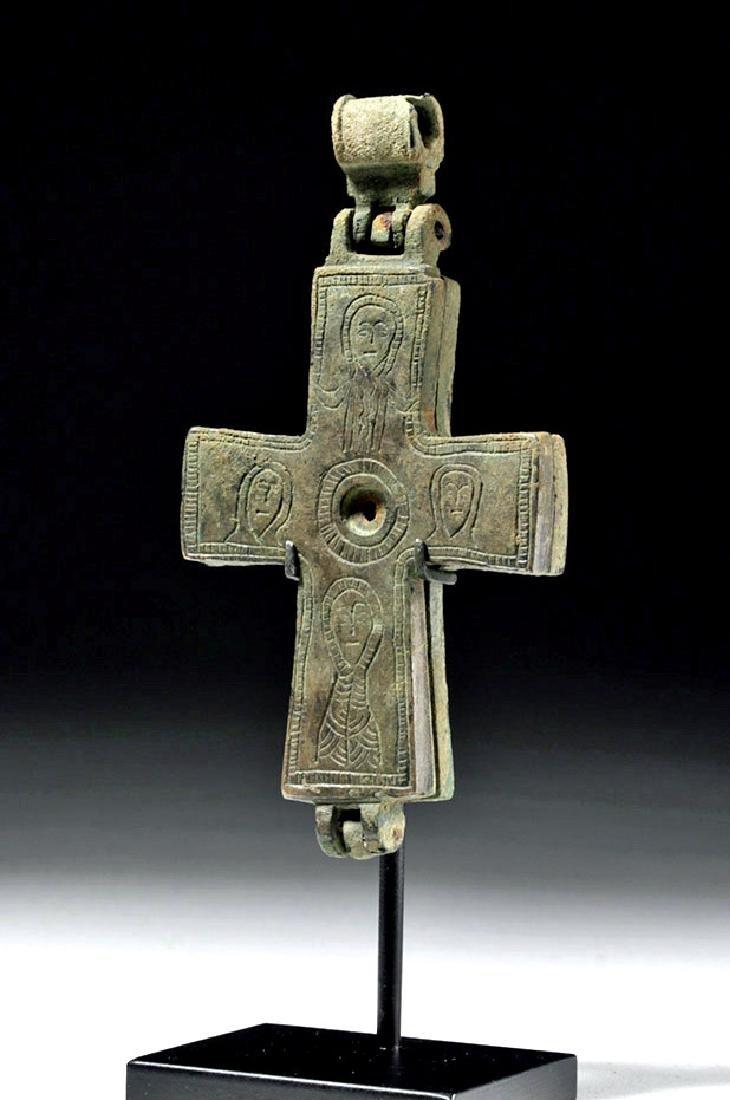 Large Byzantine Hinged Bronze Reliquary Cross