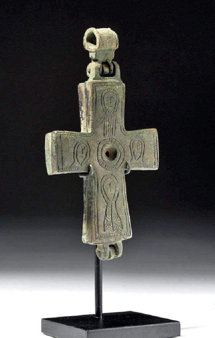 Large Byzantine Hinged Bronze Reliquary Cross - 4