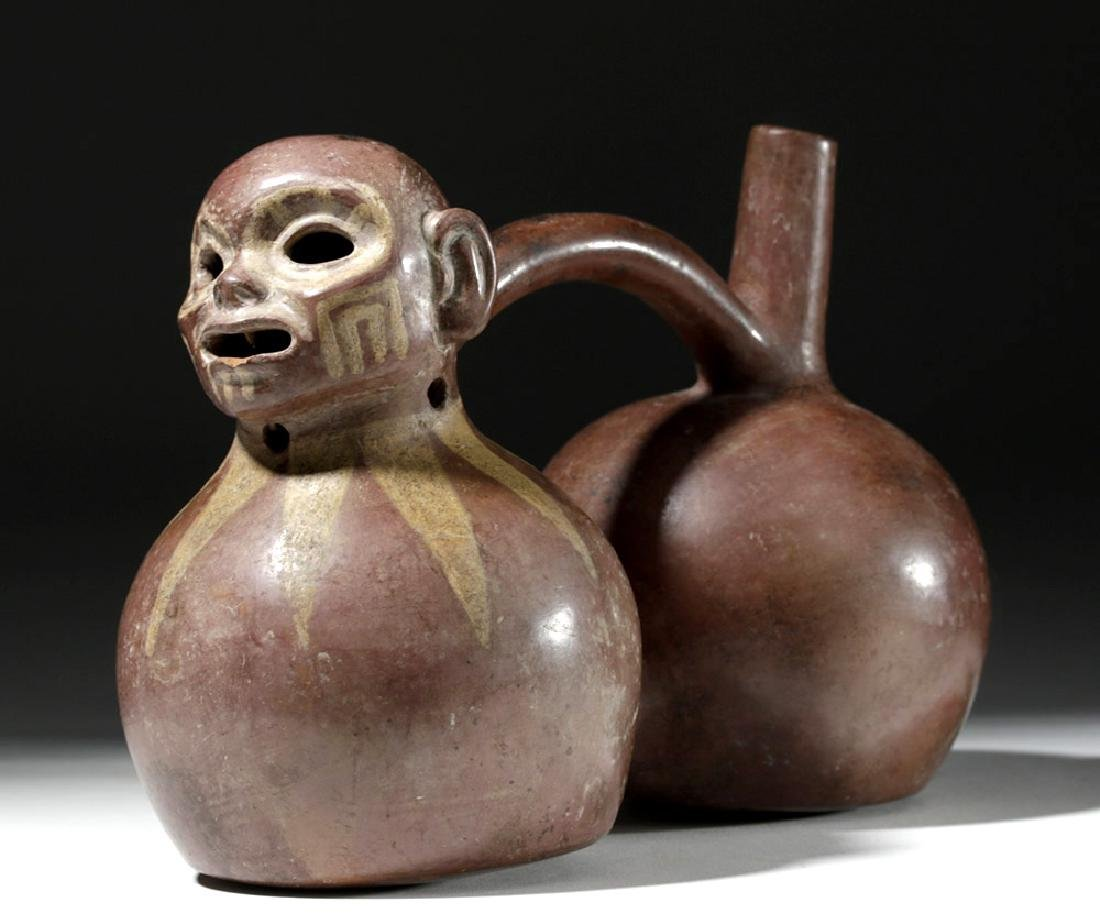 Fine Viru Whistling Pottery Stirrup Jar, Dwarf / Monkey