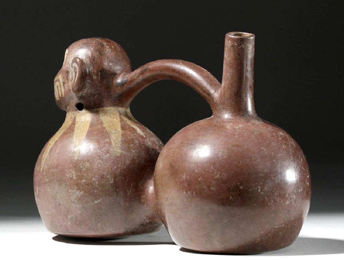 Fine Viru Whistling Pottery Stirrup Jar, Dwarf / Monkey - 2