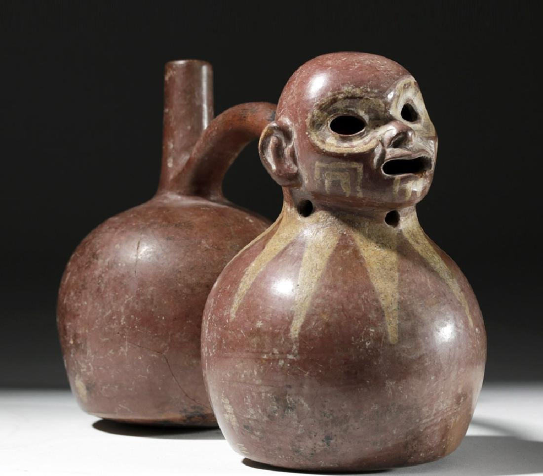 Fine Viru Whistling Pottery Stirrup Jar, Dwarf / Monkey - 4
