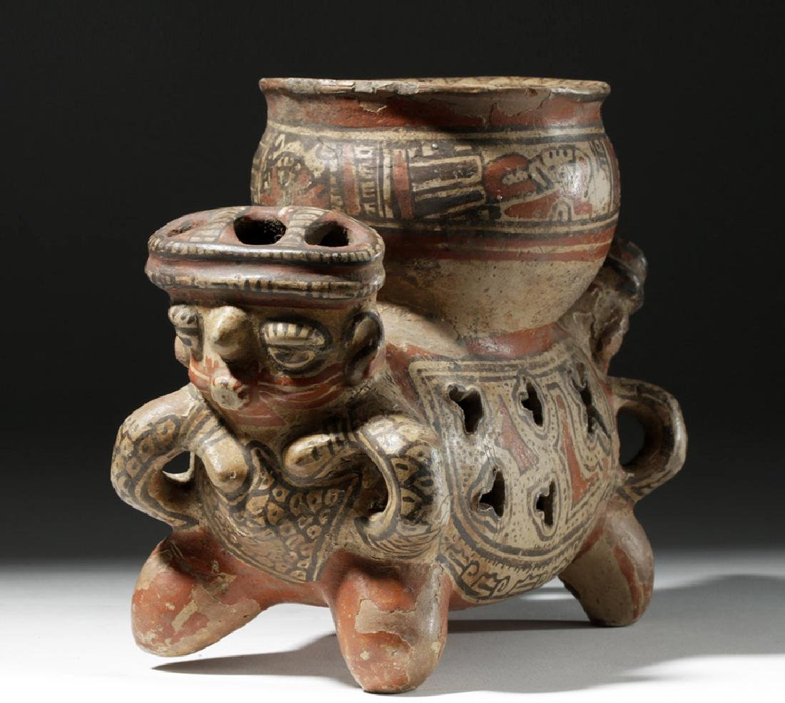 Fine Costa Rican Pottery Rattling Janus Headed Vessel