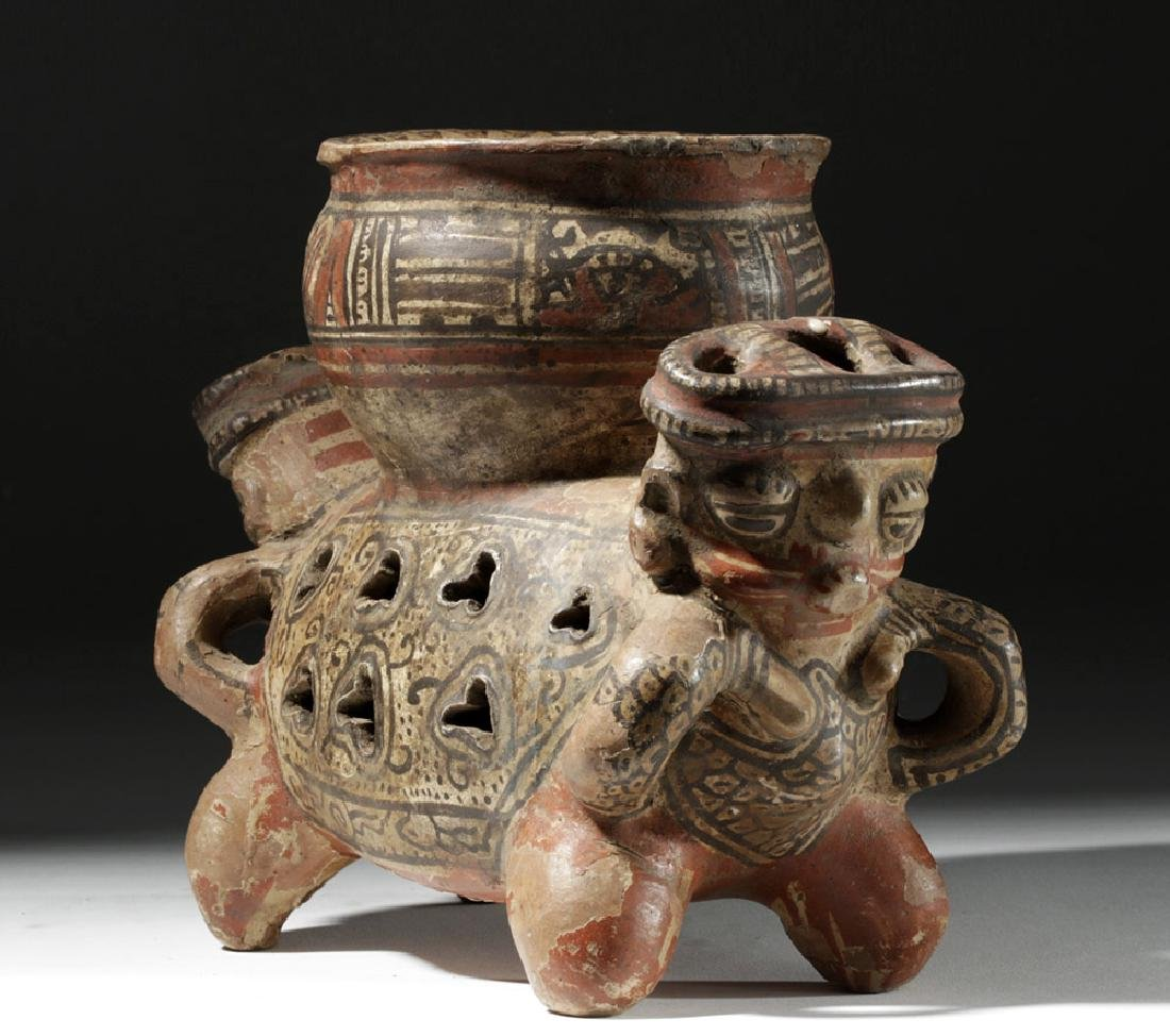 Fine Costa Rican Pottery Rattling Janus Headed Vessel - 2