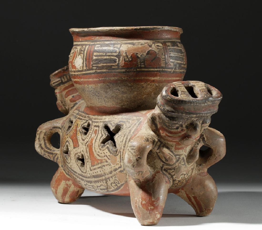 Fine Costa Rican Pottery Rattling Janus Headed Vessel - 4