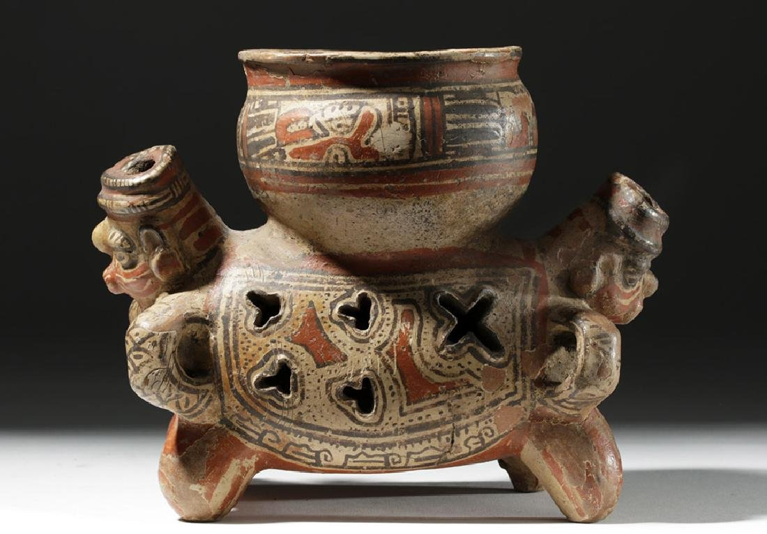 Fine Costa Rican Pottery Rattling Janus Headed Vessel - 5