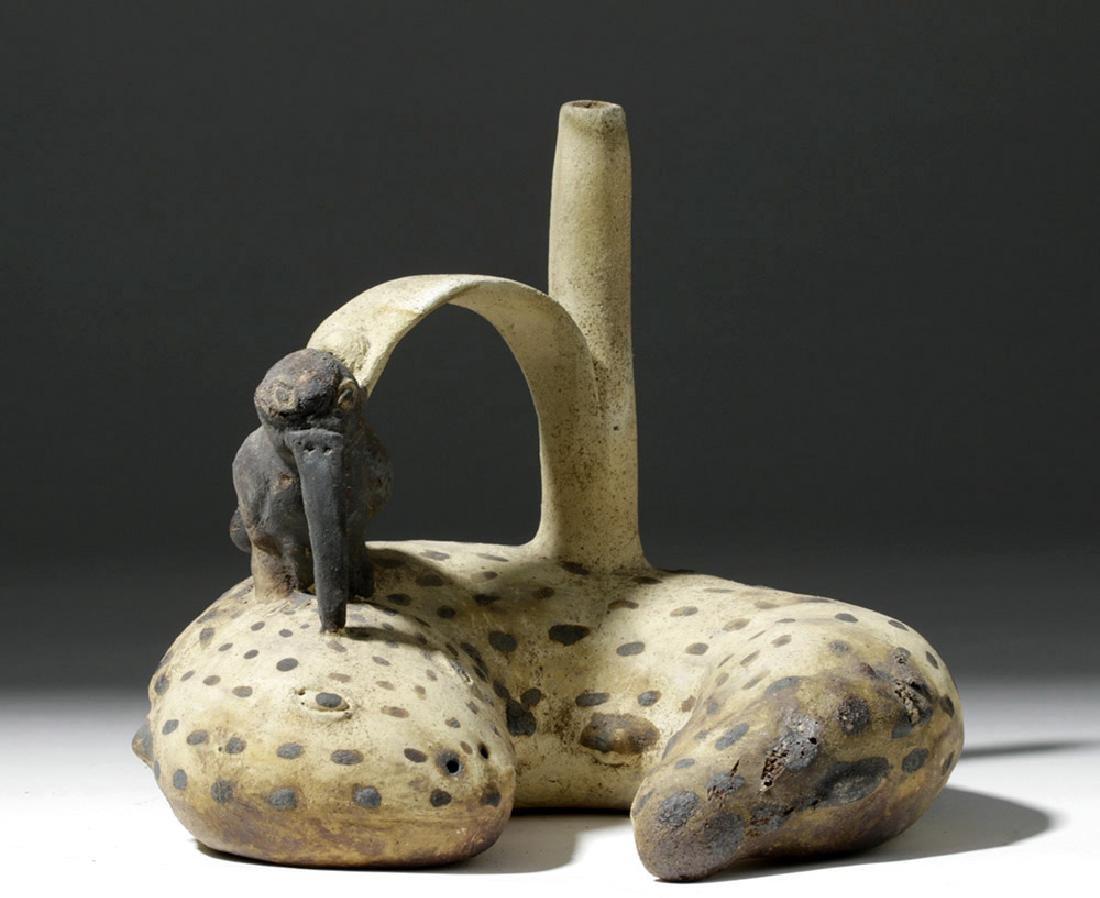 Rare Chancay Pottery Whistling Stirrup Jar - Bird & Eel