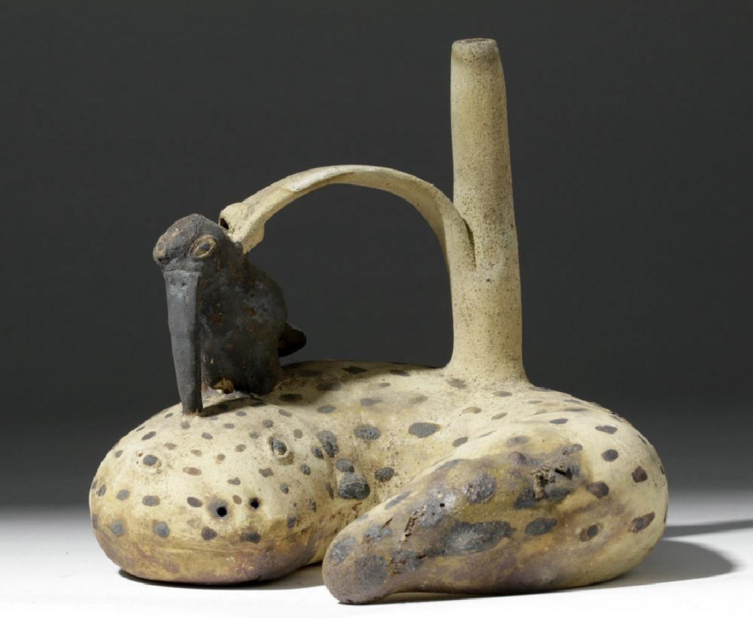 Rare Chancay Pottery Whistling Stirrup Jar - Bird & Eel - 5