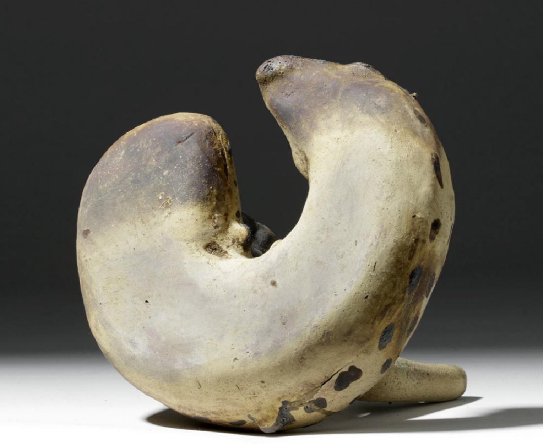 Rare Chancay Pottery Whistling Stirrup Jar - Bird & Eel - 8