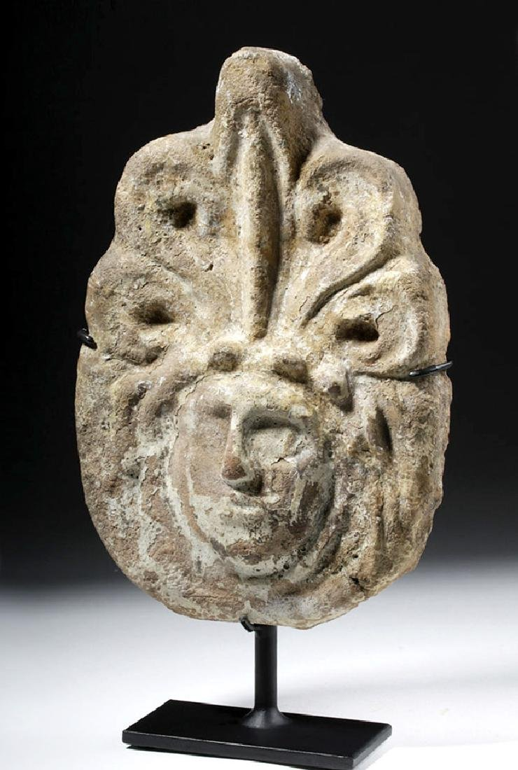 Greek Terracotta Antefix - Female Face & Acanthus Leaf