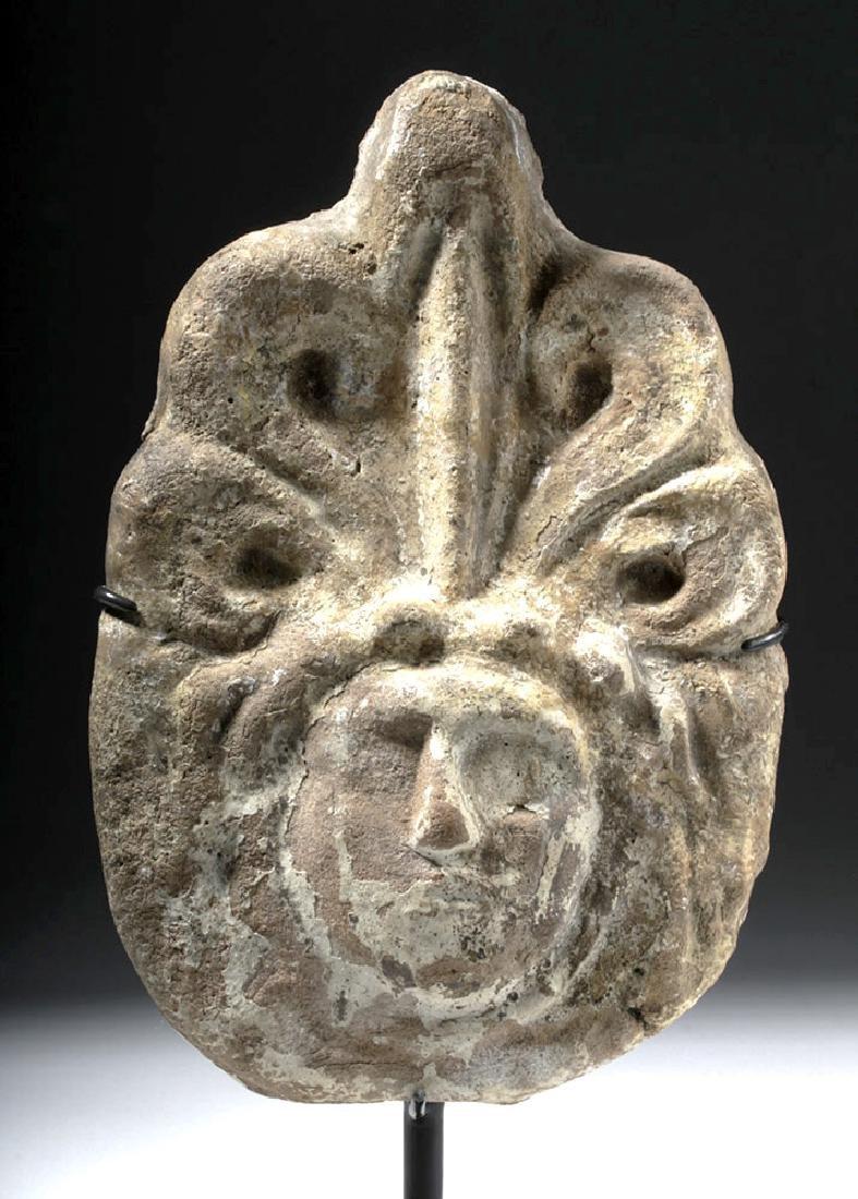 Greek Terracotta Antefix - Female Face & Acanthus Leaf - 5