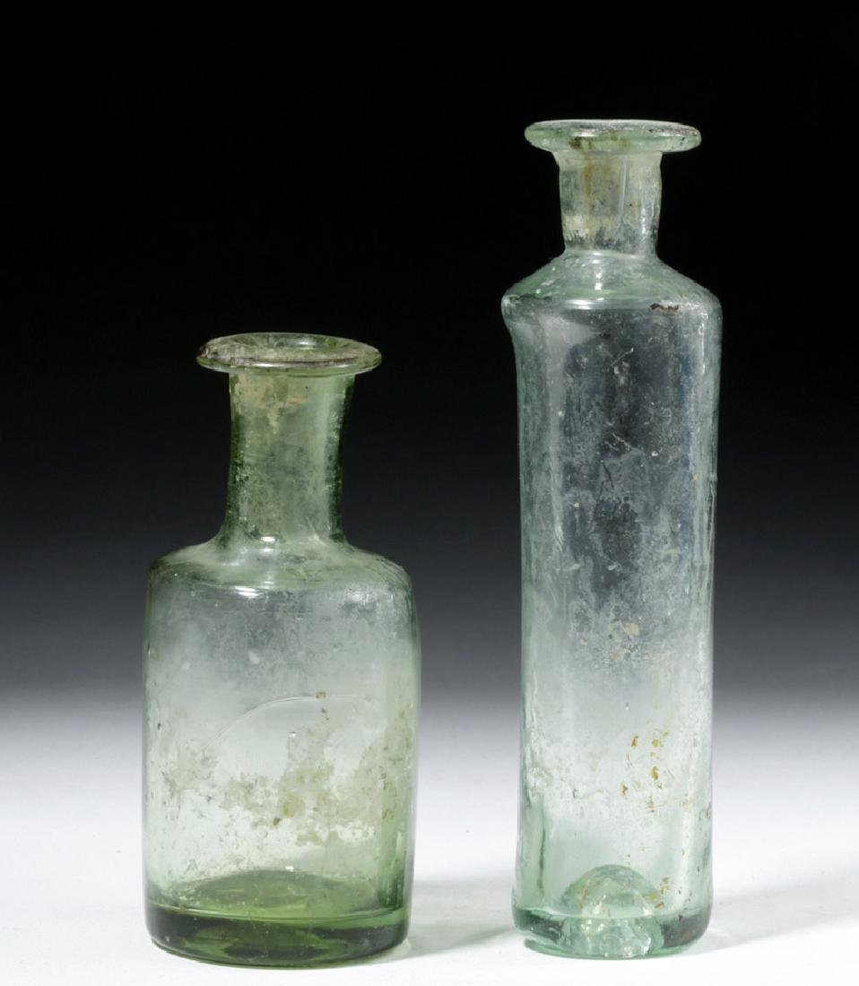 Pair of Roman Glass Blown Vessels - Translucent Green - 3