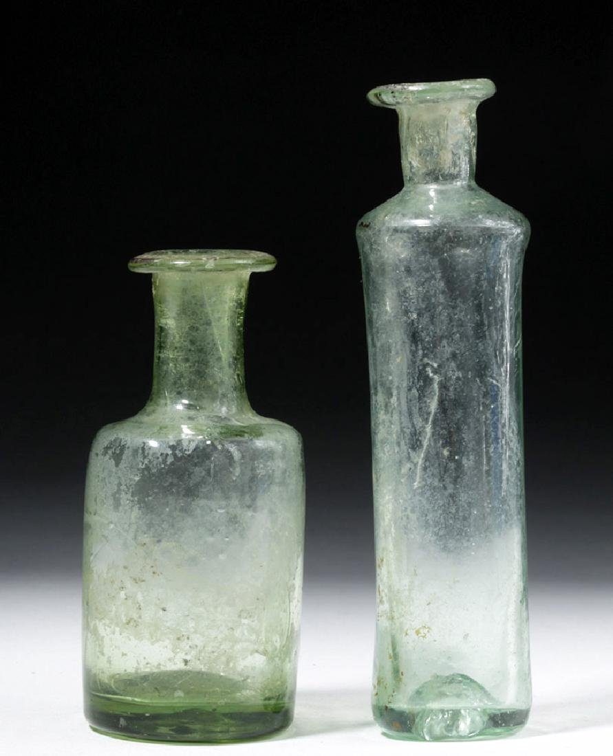 Pair of Roman Glass Blown Vessels - Translucent Green - 4