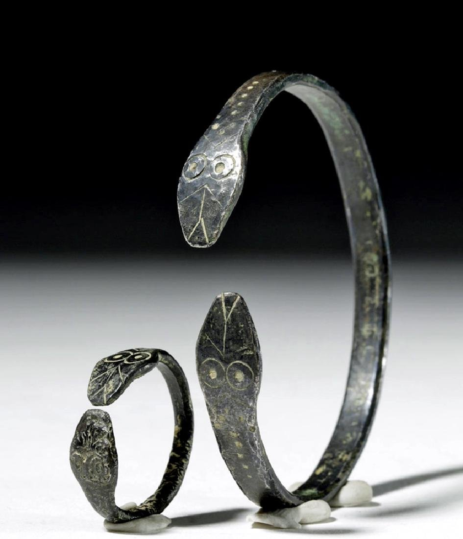 Matching Roman Silver Snake Bracelet + Ring
