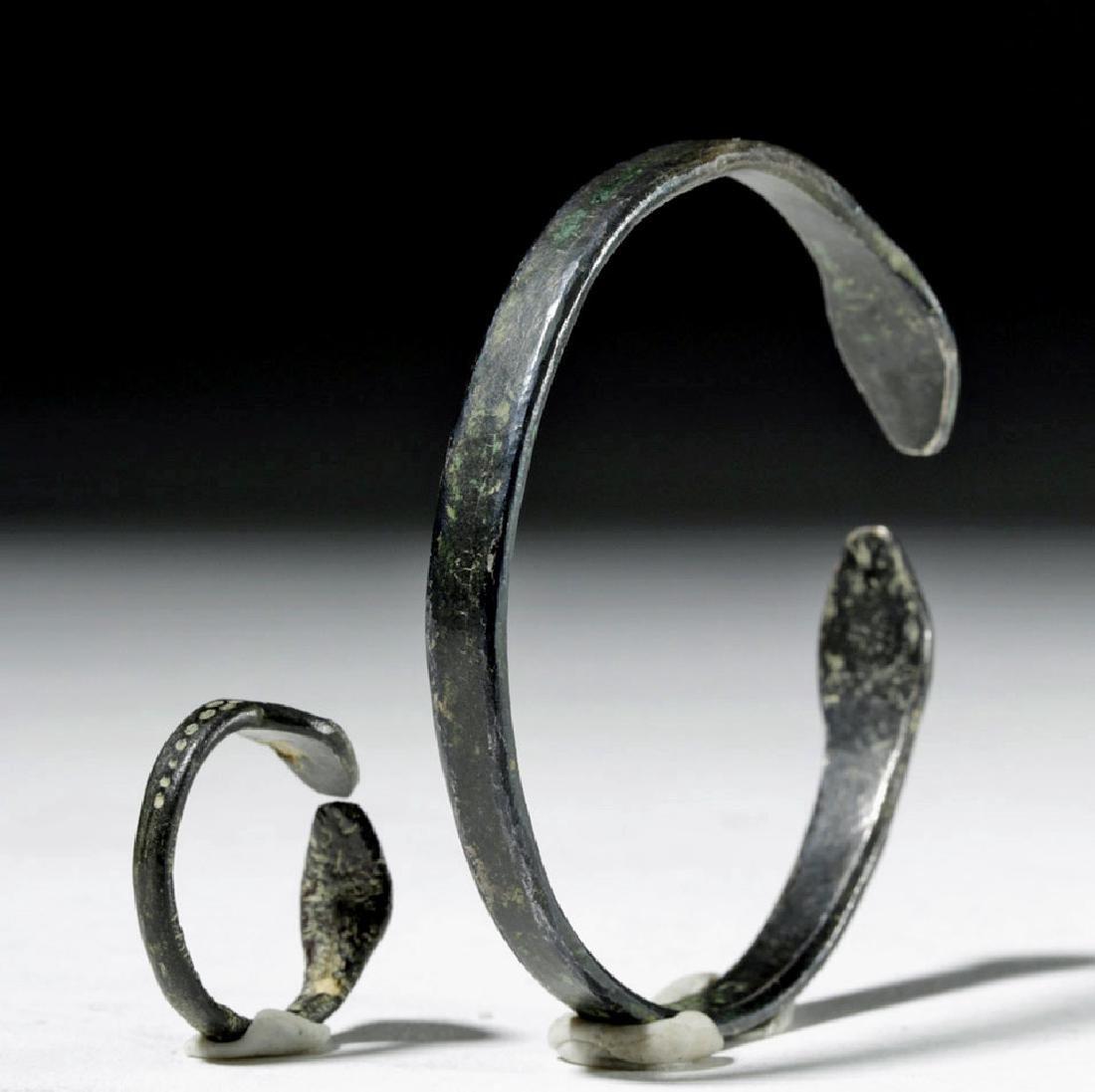 Matching Roman Silver Snake Bracelet + Ring - 3
