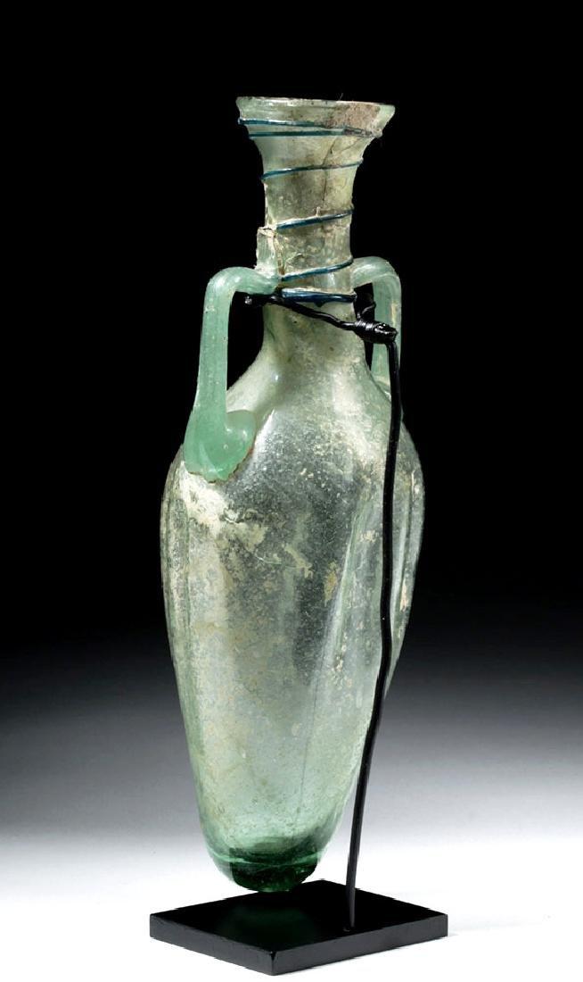 Large Roman Green Glass Handled Perfume Bottle - 2