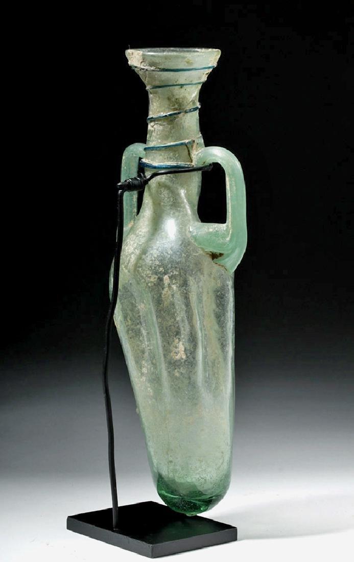 Large Roman Green Glass Handled Perfume Bottle - 3